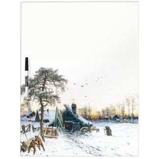 Winter Snow Family Cabin in Woods Dry Erase Board
