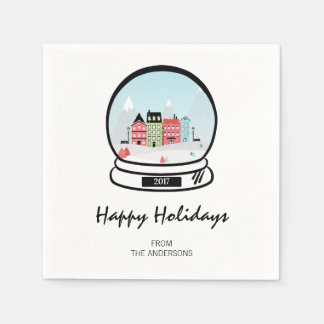 Winter Snow Globe Holiday Paper Napkins