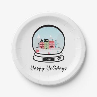 Winter Snow Globe Holiday Paper Plates