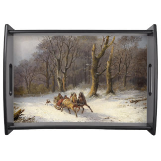 Winter Snow Horse Sleigh Forest Serving Tray