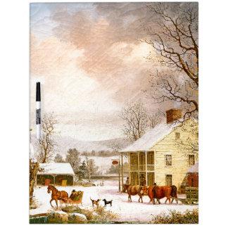 Winter Snow Horse Sleigh Ride Oxen Dry Erase Board