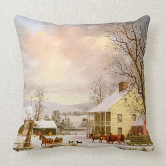 Winter Snow Horse Sleigh Ride Store Throw Pillow