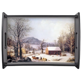 Winter Snow Horse Sleigh Schoolhouse Serving Tray