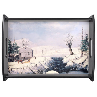 Winter Snow Horse Sleigh Waterfall Serving Tray