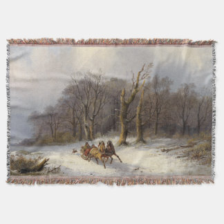 Winter Snow Horses Sleigh Forest Throw Blanket