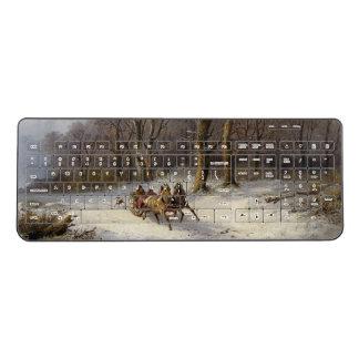Winter Snow Horses Sleigh Forest Wireless Keyboard