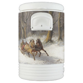 Winter Snow Horses Sleigh Ride Igloo Cooler