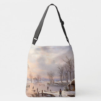 Winter Snow Ice Skaters Pond Tote Bag