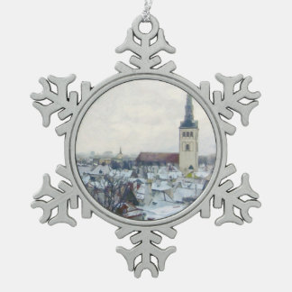 Winter Snow in Tallinn - Estonian Christmas Pewter Snowflake Decoration