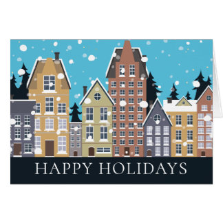 Winter Snow Neighborhood Houses Christmas Card