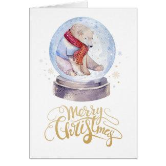Winter Snow Polar Bear Merry Christmas Card