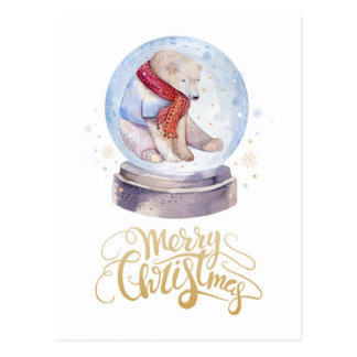 Winter Snow Polar Bear Merry Christmas Postcard