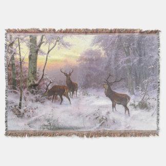 Winter Snow Red Deer Wildlife Throw Blanket