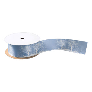 Winter Snow Scene  Deer and Trees Satin Ribbon