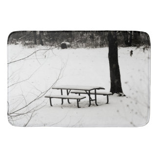 Winter Snow Scene on Bath Mat