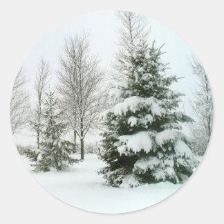 Winter Snow Scene Round Sticker