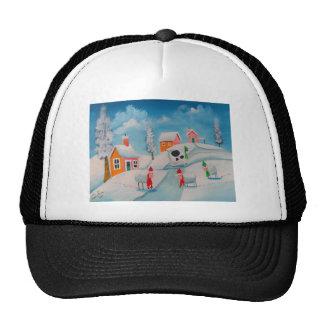 winter snow scene sheep folk art cap