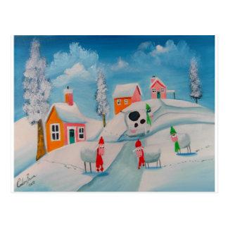 winter snow scene sheep folk art postcard