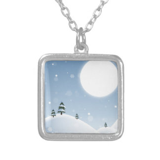 Winter Snow Scene Silver Plated Necklace