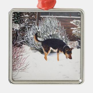 Winter snow scene with cute black and tan dog Silver-Colored square decoration