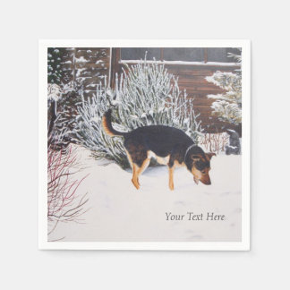 Winter snow scene with cute black and tan dog paper napkin