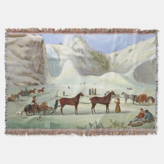Winter Snow Sleds Horse Sleighs Cone Throw Blanket