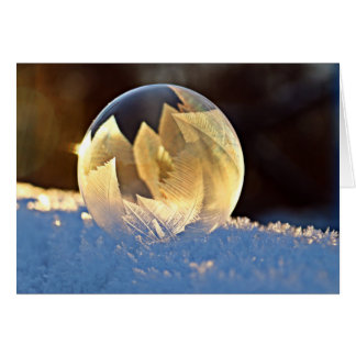 Winter Snow Soap Bubble with Leaves Inside Card