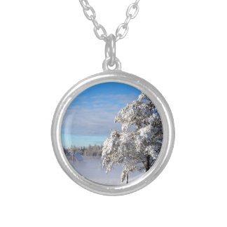 Winter Snow St Joseph Island Silver Plated Necklace
