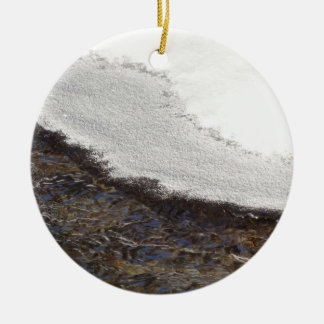 Winter Snow Stream Stripes Abstract Photography Ceramic Ornament