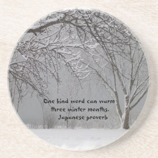 Winter Snow with Japanese Proverb Coaster