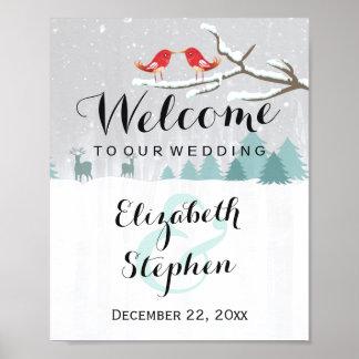 Winter Snow Wonderland Birds Reindeer Wedding Sign Poster