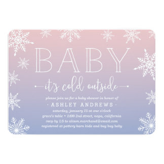 Winter Snowfall Baby Shower Invitation   Blush