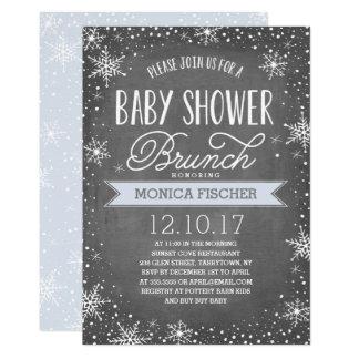Winter Snowflake Baby Shower Brunch Chalkboard Card
