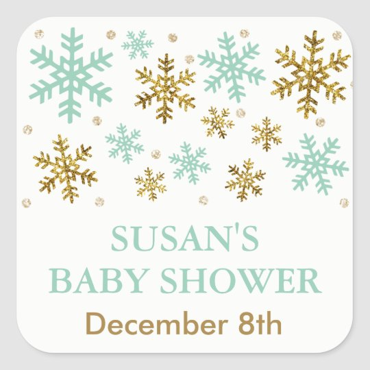 Winter Snowflake Baby Shower Favour Tag, Mint Gold Square Sticker