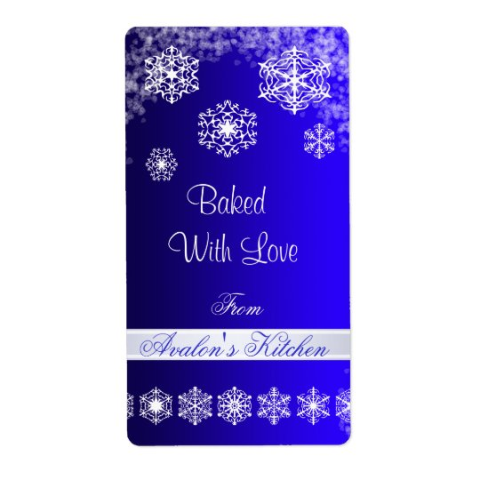 Winter Snowflake Blue Holiday Baking Label Shipping Label