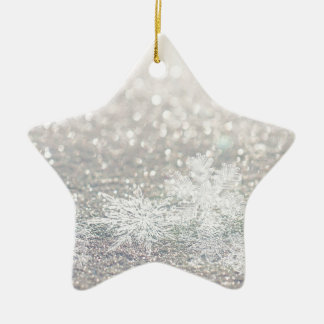 Winter Snowflake Bokeh Bling Ceramic Ornament