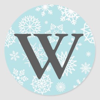 Winter Snowflake Christmas Blue Gray Monogram Classic Round Sticker