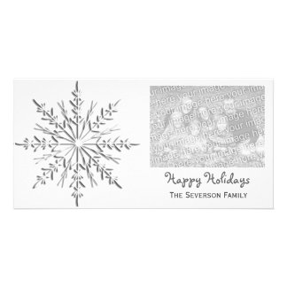 Winter Snowflake Happy Holidays Personalized Photo Card