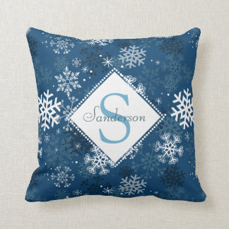 Winter Snowflake Print Monogram Pillow, Blue Cushion
