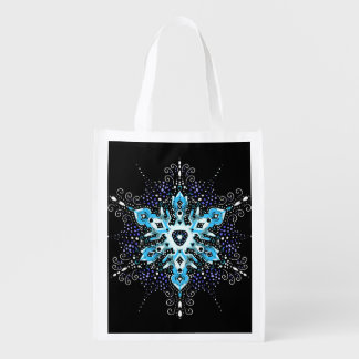winter snowflake reusable tote bag