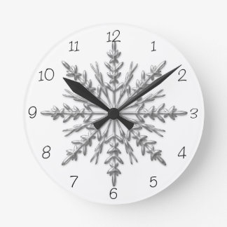 Winter Snowflake Round Clock