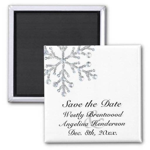 Winter Snowflake Save the Date Magnet