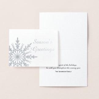 Winter Snowflake Season's Greetings Christmas Foil Card