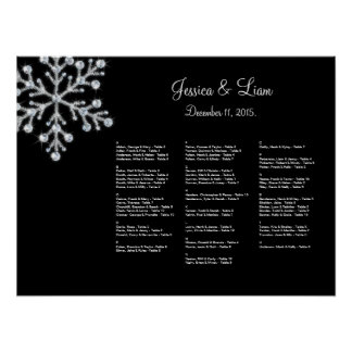 Winter Snowflake Seating Chart Posters