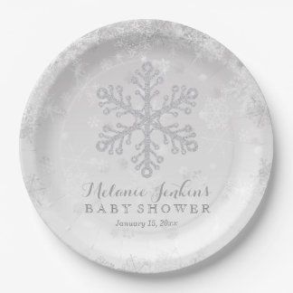 Winter Snowflake Silver Baby Shower Paper Plates