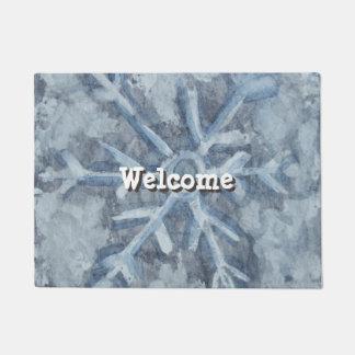 Winter Snowflake Watercolor Doormat