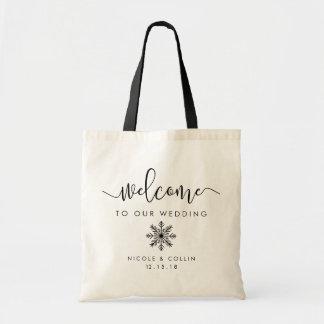 Winter Snowflake Wedding Welcome Budget Tote Bag