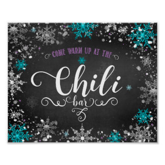Winter Snowflakes Chili Bar Party Table Sign Poster