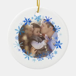 Winter Snowflakes Christmas Ceramic Ornament