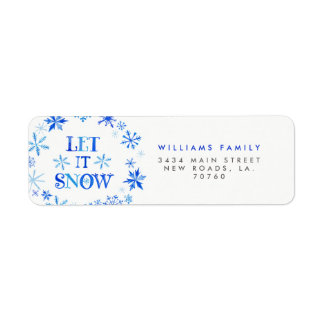 Winter Snowflakes Christmas Return Address Label